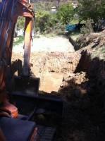 Terrassement pour la mise en place en cours